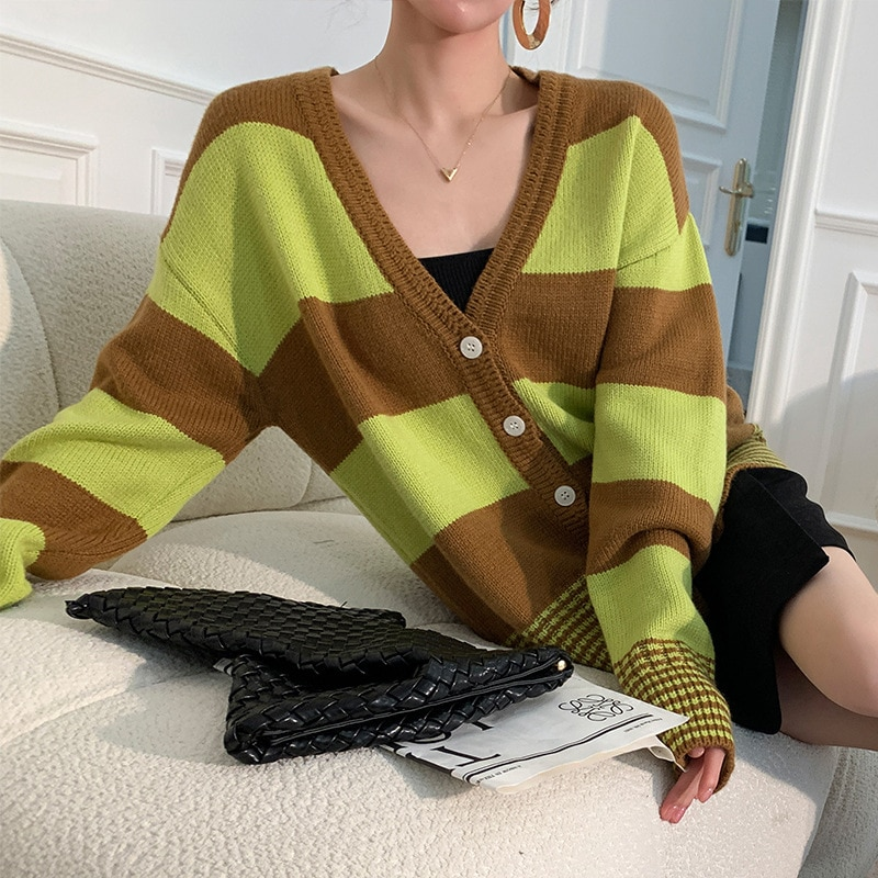 Womens Loose Fit Cardigan Sweater Long-Sleeve V Neck vintage Stripe Pattern Single-Breasted Knitted Cardigan Tops enlarge