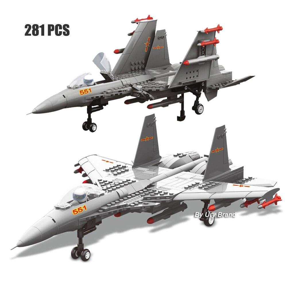 281 Uds. Morden ejército Warcraft militar J15 Fighter WW2 JX001 Kits avión DIY modelos 3D bloques de construcción educativos juguetes para niños