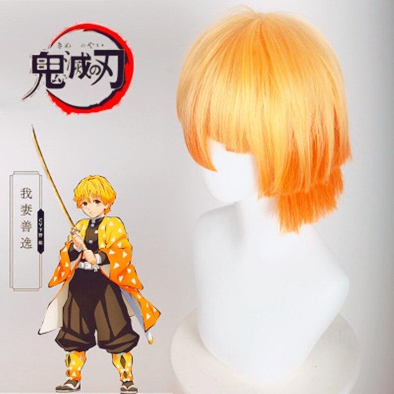AniHut Agatsuma Zenitsu perruque Kimetsu no Yaiba démon Slayer Cosplay jaune synthétique résistant à la chaleur cheveux Agatsuma Zenitsu Cosplay