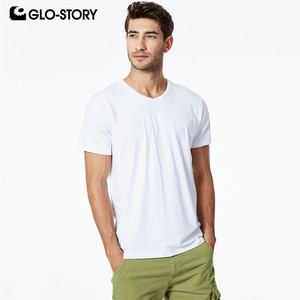 GLO-STORY Men's 2020 Basic T-shirt Casual Solid Knitted Cotton V-Neck Shirt Male Short Sleeve Shirt MPO-8725