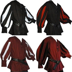 Masculino medieval guerreiro cavaleiro túnica camisa lansquenet larp pirata traje preto rendas-up roupas de topo para paladin cosplay trajes