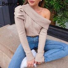 BerryGo Sexy une épaule tricoté chandail femmes Vintage manches bouffantes pulls femme pull chaud dames automne hiver minimaliste