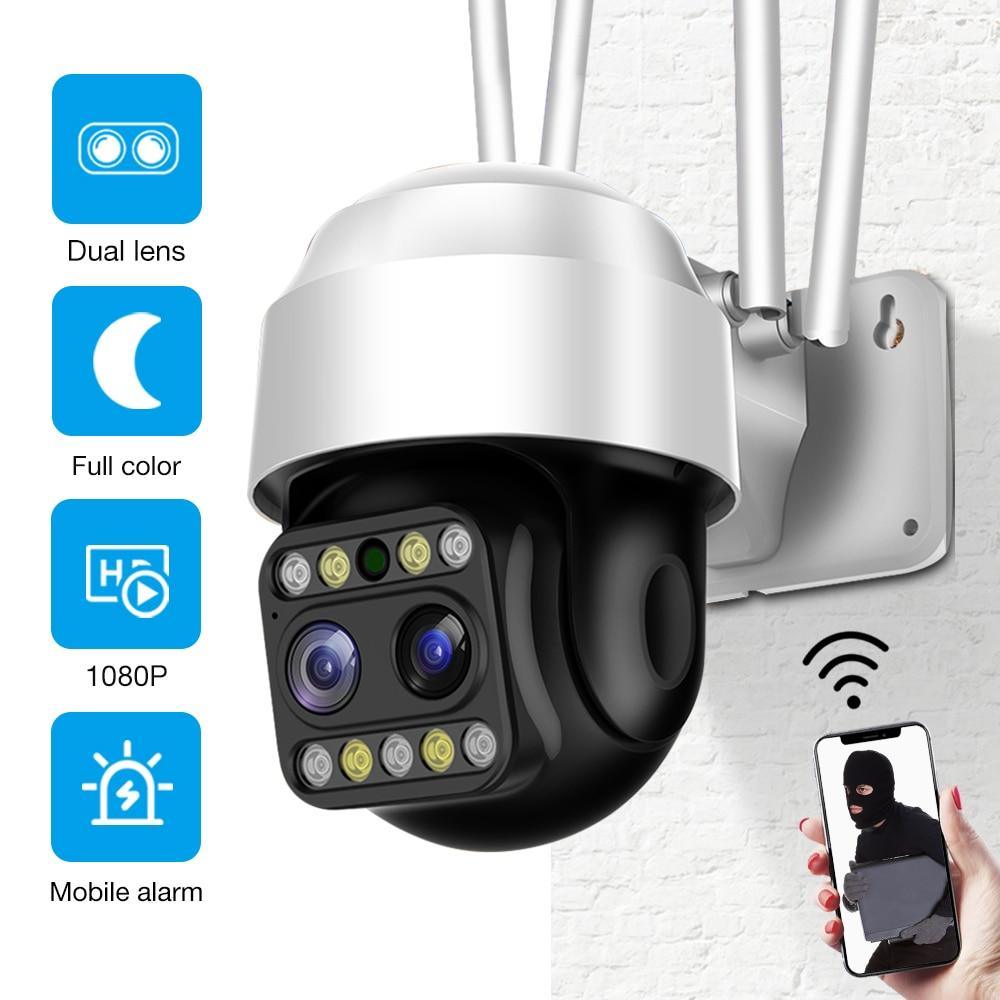1080P عدسة مزدوجة في الهواء الطلق كاميرا أمان لاسلكية PTZ سرعة قبة الخارجية واي فاي شارع كاميرا فيديو IP CCTV P2P تنبيه الحركة IP66