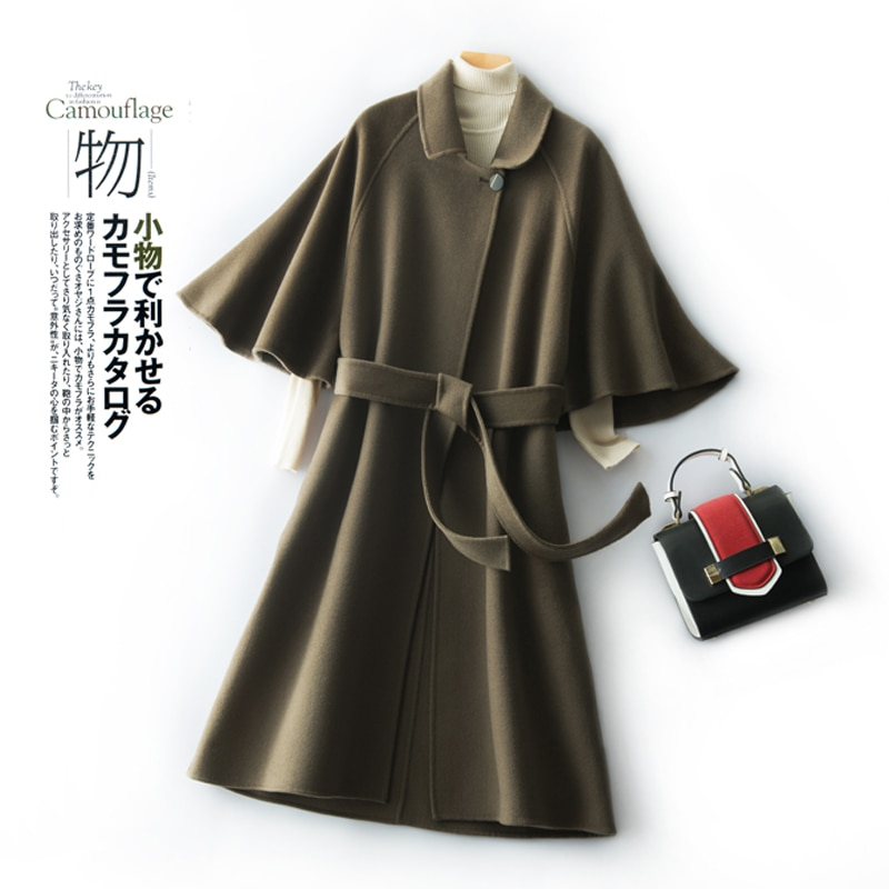 2020 cape coat women's autumn winter double face cashmere coat medium length slim looking 100% pure wool coat