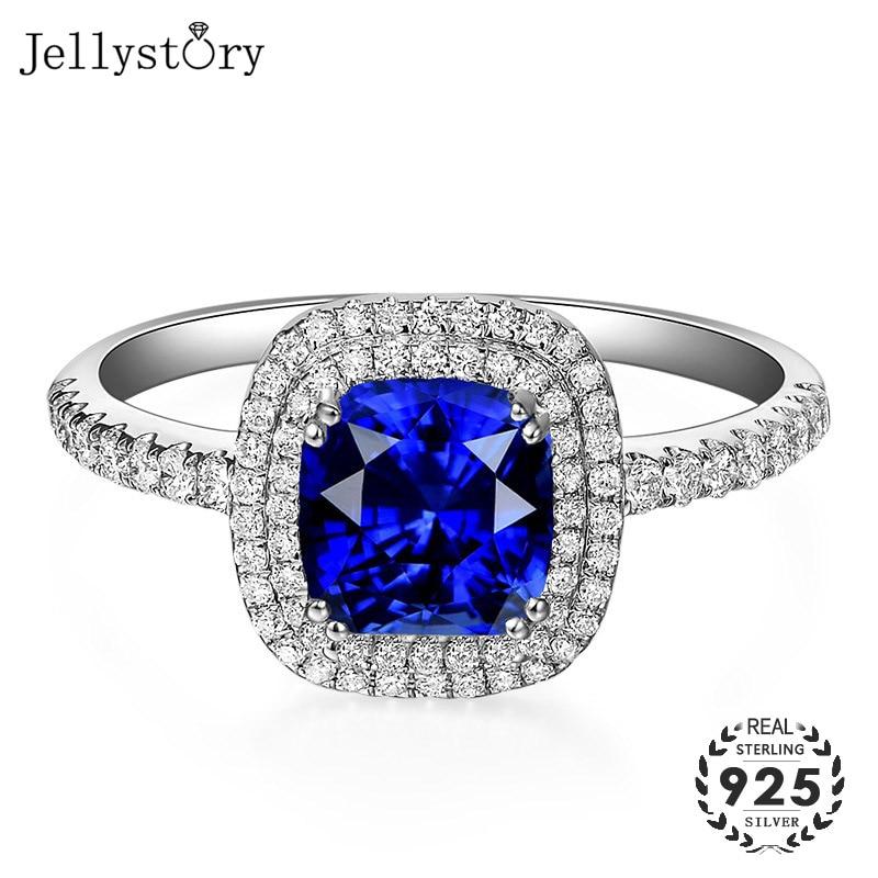 Jellystory clássico 925 anéis de prata com forma geométrica azul safira zircão pedra preciosa anel aberto para presentes de festa feminino jóias