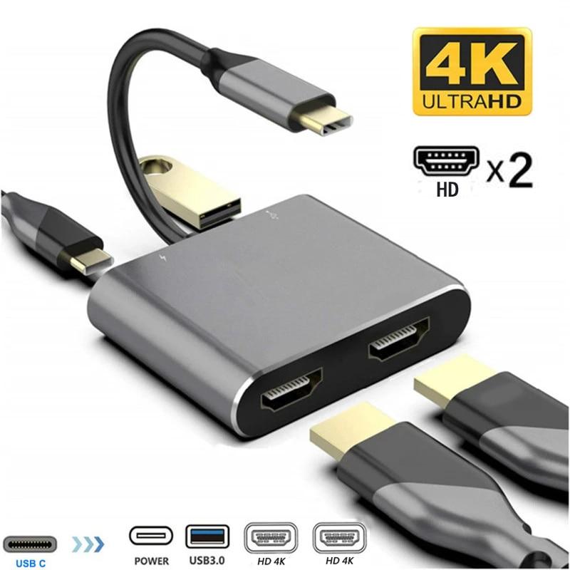 MST USB C-محول مزدوج متوافق مع HDMI ، محطة إرساء شحن PD 4K HD ، محور شاشة مزدوج ، محول USB من النوع C لجهاز MacBook
