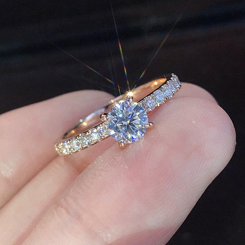 VAGZEB Silber Farbe Schmuck 1,5 ct AAA Zirkon Engagement Ringe Weibliche Rose gold farbe Kristall Hochzeit ringe für Frau