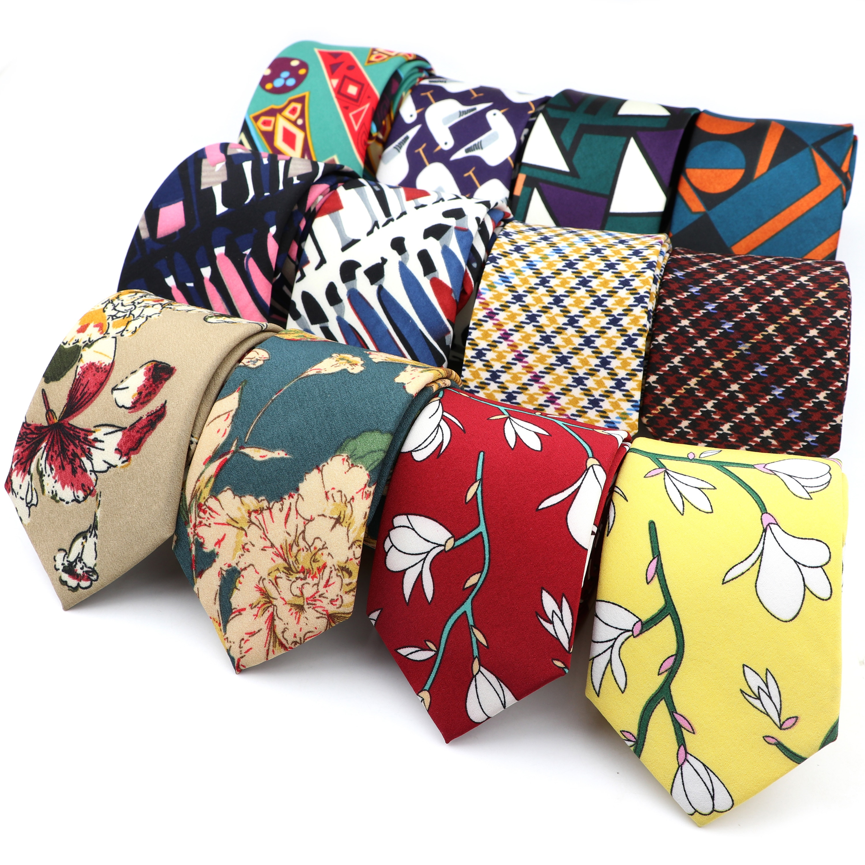 Colorido geométrico floral listrado paisley pescoço gravata 7cm masculino gravata 100% poliéster gravata festa smoking presente estilo boêmio acessório