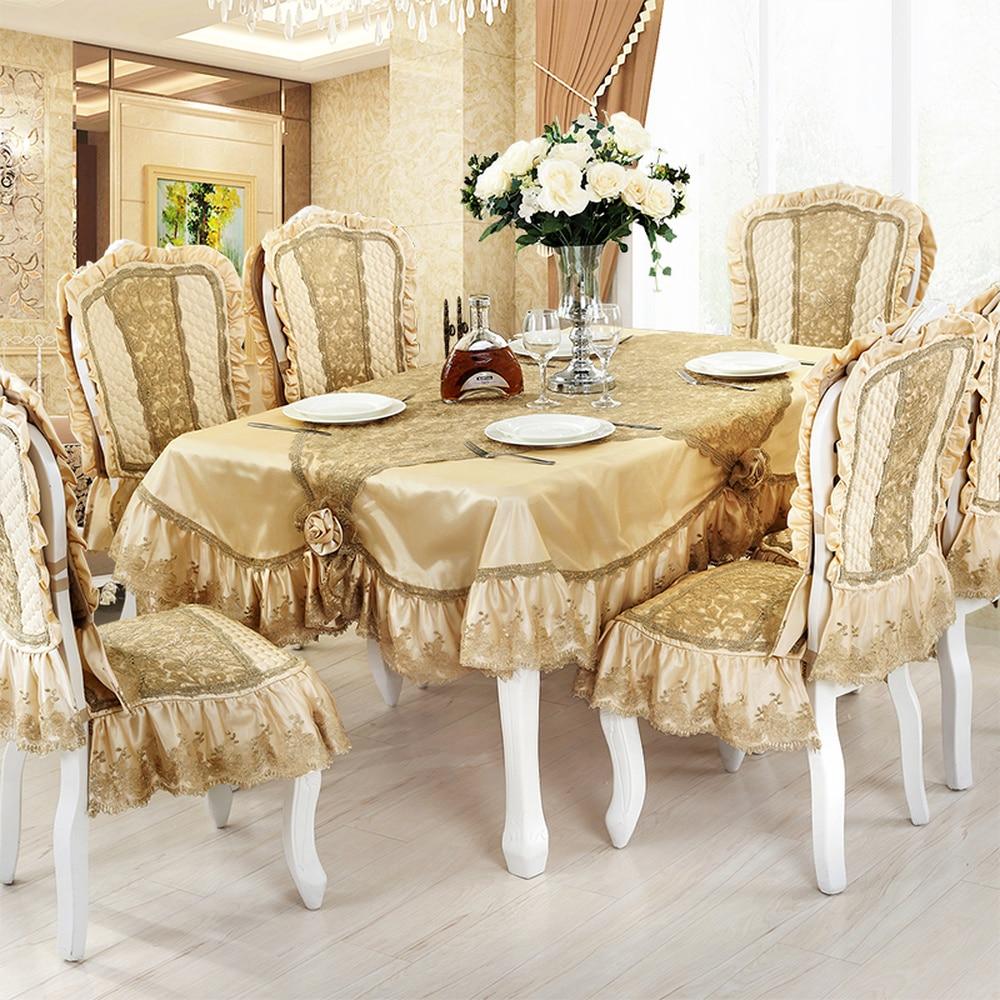 Nobre luxo dourado toalha de mesa de renda bordado europeu pano de mesa corredor confortável não-deslizamento cadeira capa para weding