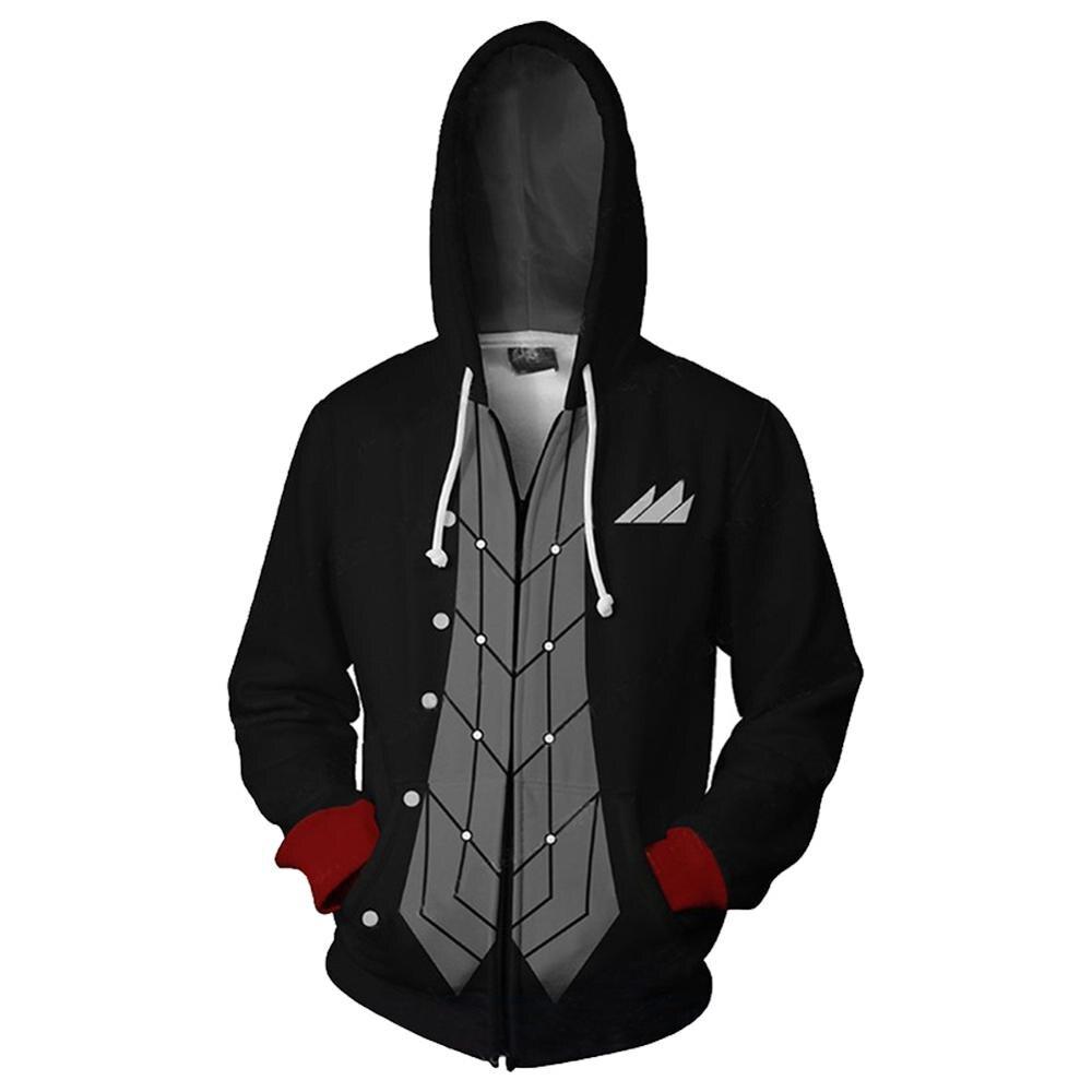 Anime Persona 5 Hoodies Sweatshirts Men 3D Printed Zip Up Hooded Coats Casual Tracksuit Streetwear Jackets