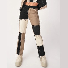 Women Fashion Cargo Jeans European/American Trend Mixed Color Joint High Waist Tight Buttocks Women'