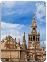 seville cathedral travel poster retro poster metal tin sign chic art retro iron painting bar people cave cafe family garage