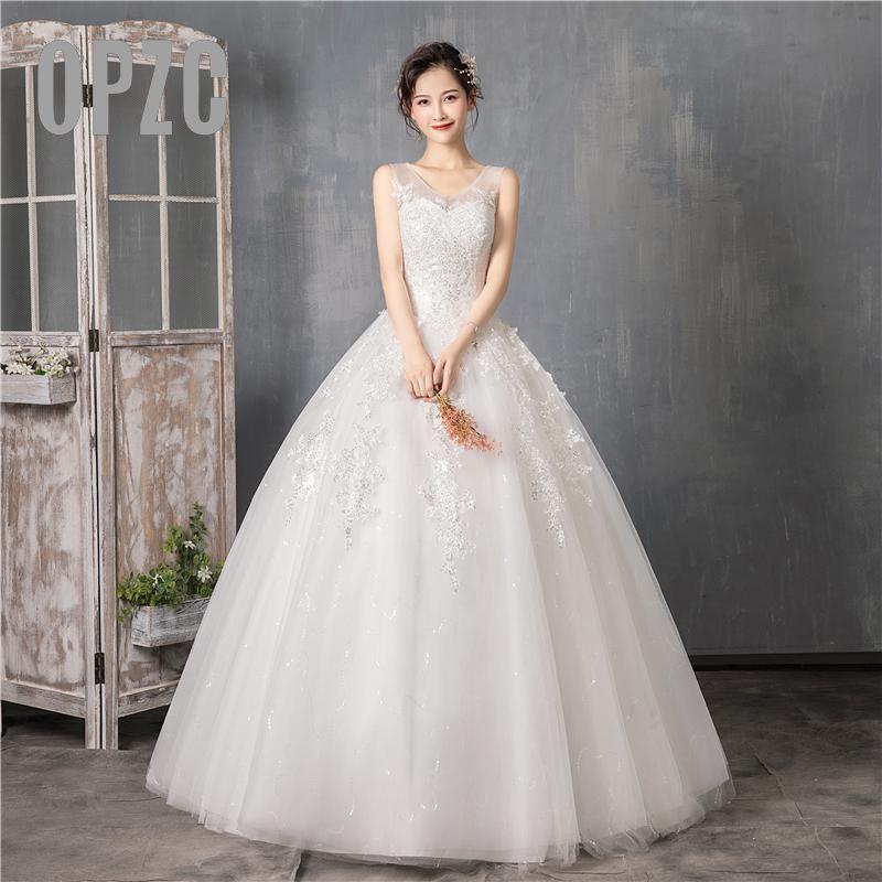 Элегантное кружевное бальное платье без рукавов с v-образным вырезом и цветочным принтом в Корейском стиле; Свадебное платье; Новинка 2020 год...