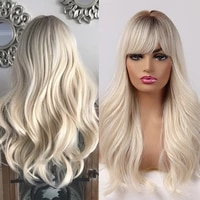 long wavy ombre brown to light blonde natural wigs with bangs heat resistant wigs for afro women cosplay synthetic hair wigs