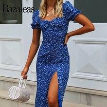 Bazaleas, винтажное темно-синее праздничное платье с цветочным принтом, праздничное летнее пляжное платье, ретро платье миди с разрезом, vestido
