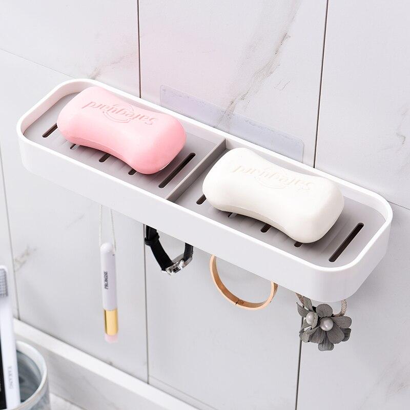 Jabonera para ducha de baño con 4 ganchos bandeja de placa de almacenamiento funda, soporte de jabonera organizador de contenedores de limpieza