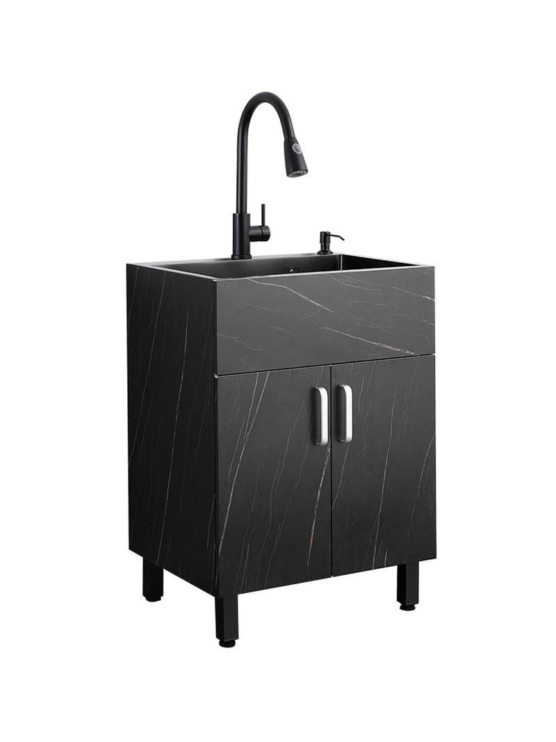 حوض مطبخ مدمج من الفولاذ المقاوم للصدأ 304 ، أسود ، للاستخدام التجاري ، مع خزان خضروات مدمج
