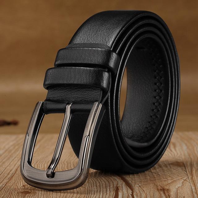 2020 Business Men Belts of Leather Luxury Design Pin Buckle Belts for Jeans Brown Retro Waist Strap Belt Classic Ceinture Homme
