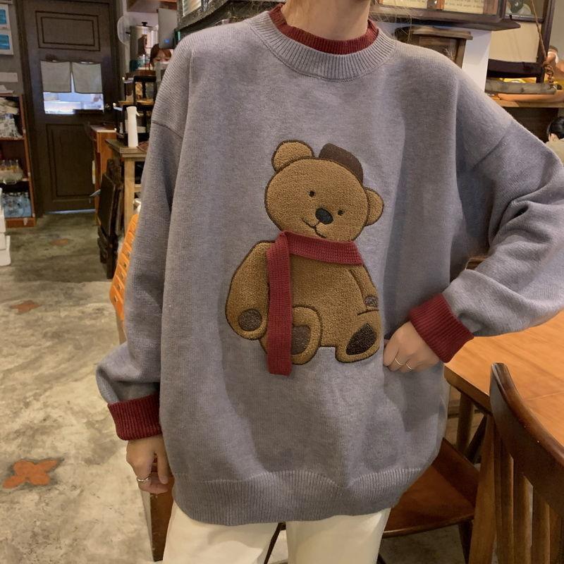 MINGLIUSILI винтажный трендовый свитер осень зима мода 2021 пуловер Женский медведь Сращивание Повседневный o-образный вырез свободный длинный ру...
