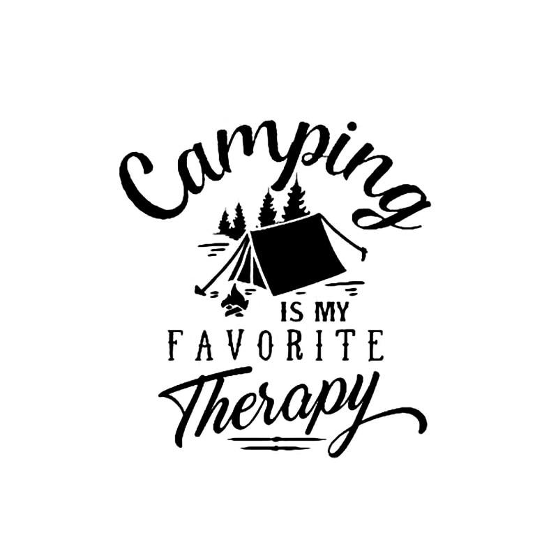 Pegatina de coche para acampar, mis citas de terapia preferidas de árboles divertidos al aire libre, pegatinas de vinilo para motocicletas, accesorios exteriores