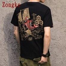 Zongke t-shirt manches courtes homme   En coton, à la mode, style japonais imprimé, 2020