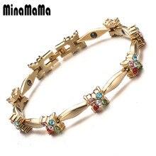 Nouvelle mode coloré cristal gemme femme Bracelet magnétique couleur or cuivre Germanium guérison bijoux Bio énergie bracelets