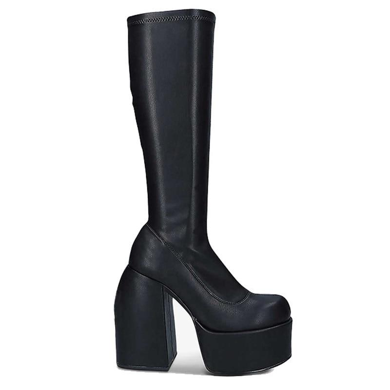 فاسق نمط الخريف الشتاء الأحذية مرونة ستوكات حذاء امرأة حذاء من الجلد عالية الكعب الأسود سميكة منصة طويلة حذاء برقبة للركبة