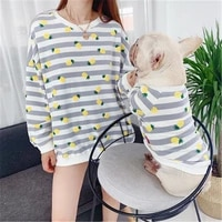 new pet clothes 2019 samll french bulldog spring and autumn striped fruit print ropa perro peque o dog parent child hondenjas