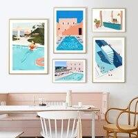 Nordique dessin anime paysage marin affiche piscine partie natation vacances mur Art photos toile peintures pour salon maison deco
