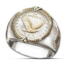 الهيب هوب الرجال اثنين من لهجة الذهب فايكنغ النسر العلم الأمريكي خاتم فريد ديسجين الهبي كاوبوي فنجر روك خواتم خمر مجوهرات
