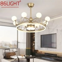 86light ceiling lamps with fan gold with remote control 220v 110v led fixtures for rooms living room bedroom restaurant