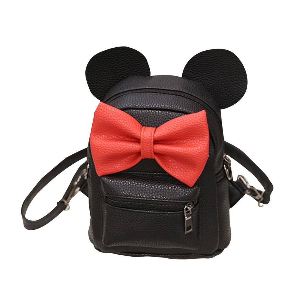 Nuevo Mickey mochila Pu cuero Mini BOLSA mujer mochila Sweet Bow adolescentes niñas mochilas escuela bolsa señora