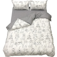 Textile à la maison mignon chat blanc imprimé ensemble de literie adultes enfants dessin animé housse de couette drap de lit taie doreiller double pleine reine King Size