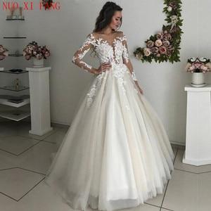 Vintage Scoop Neck A-line Wedding Dress With Long Sleeves Lace Appliques Tulle Bridal Dress 2020 Boho Vestidos De Novia mariage