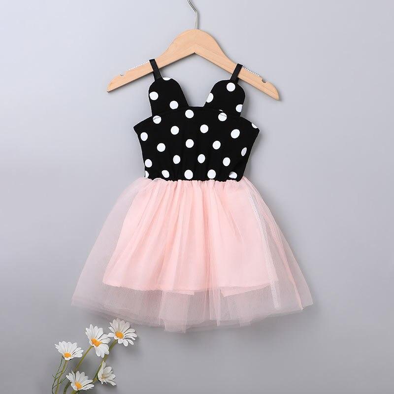 2021 Baby Girl Cotton Dress Kid Summer Clothes Elegant Designer Strap Cute Princess Short Casual Fairy Sundress Pink Dot Costume