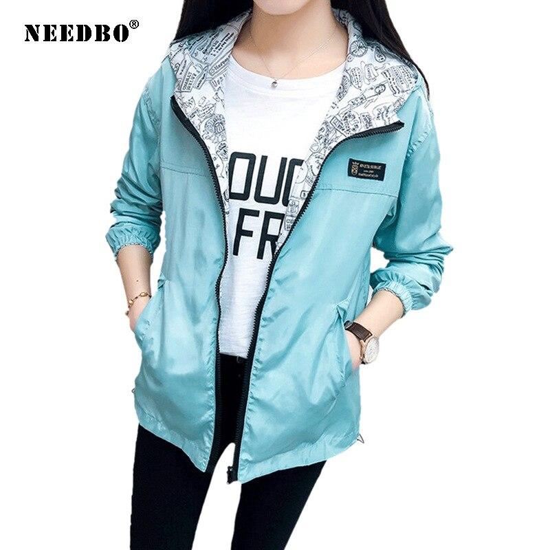 AliExpress - NEEDBO Women's Jacket Spring Summer Pocket Zipper Hooded Two Side Wear Outwear Coat Loose Plus Size Windbreaker Jackets Famale