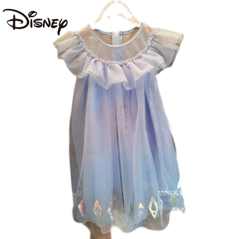 Disney Frozen Elsa Ruffled Summer Girls' Dress Princess Dress Popular New Product women clothes Knee-Length skirts