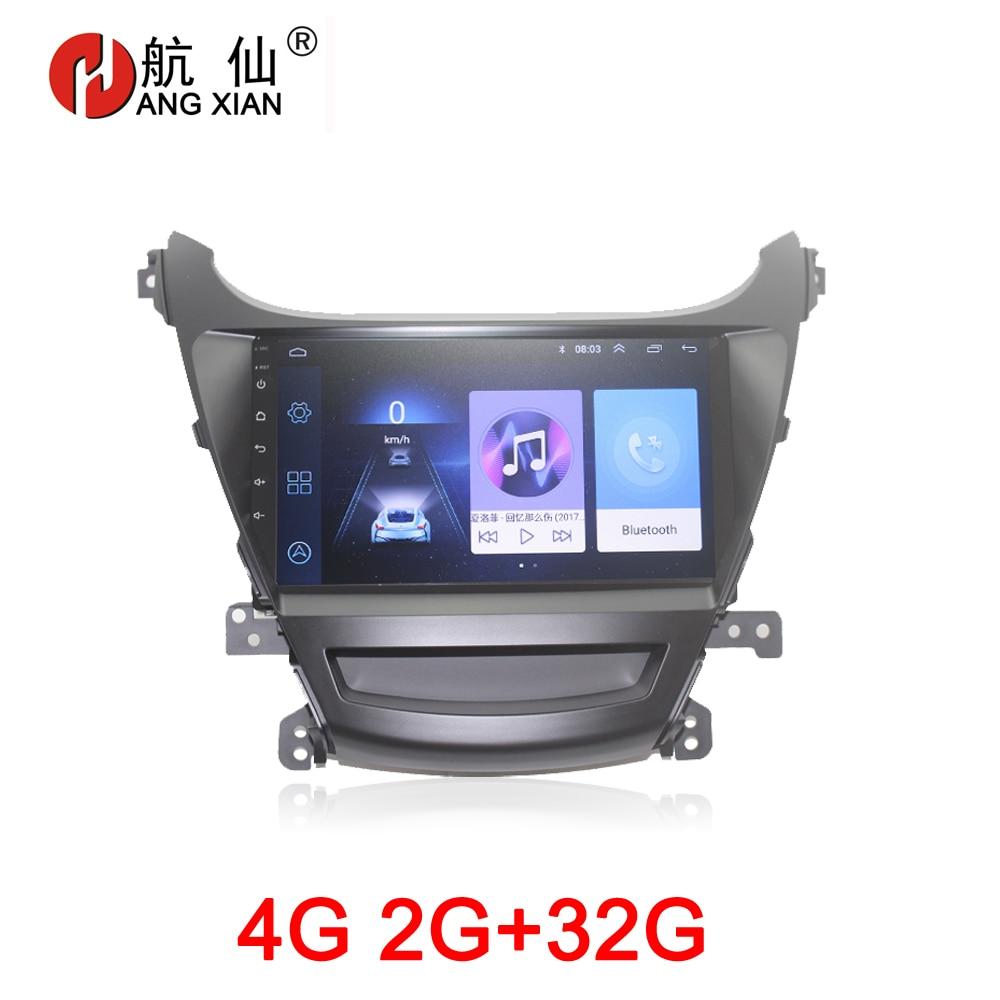 Accesorio para coche con reproductor de vídeo GPS y dvd para coche extranjero Hyundai Elantra 2014 con internet 2G + 32G 4G