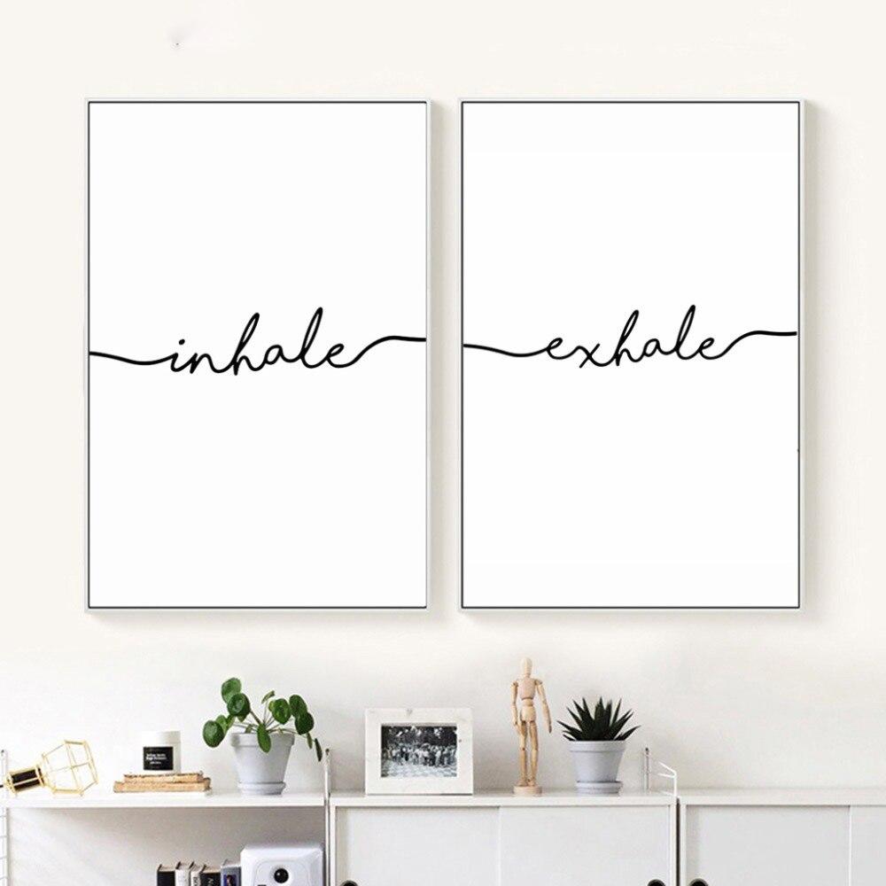 Cartel de estilo nórdico y minimalista de Inhale Exhale, pintura en lienzo de arte impresa en la pared, imagen artística, decoración para el hogar y la sala de estar, Escandinava