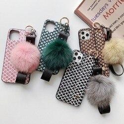 All-inclusive pulseira de pedra preciosa bola de cabelo à prova de gota capa para iphone 11 pro max 11 pro 11 xs max xs xr x 6 s 7 8 plus