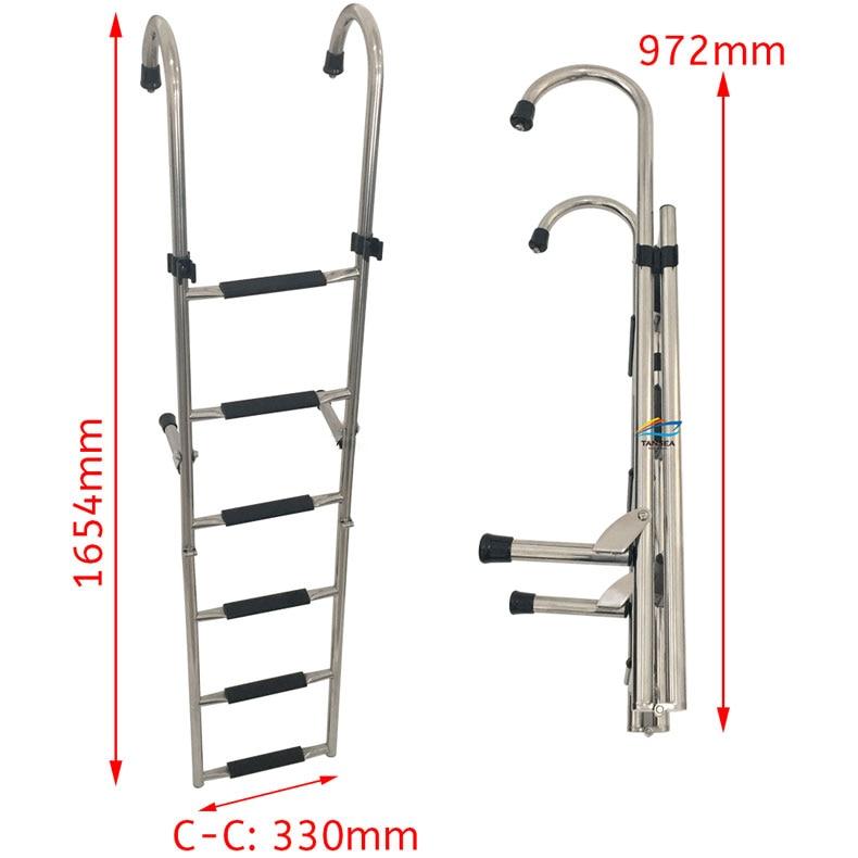 1.65m boat accessories marine 6 Step Under Platform Boat Ladder Stainless Steel Boarding Telescoping Ladder