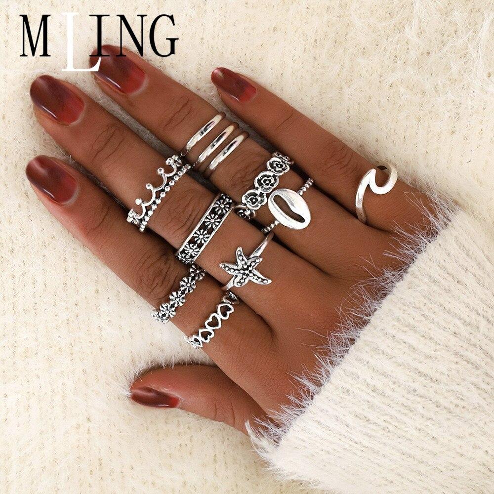 Mling 11 pcss/conjunto anel de liga vintage boêmio starfish concha onda coroa anel para mulher