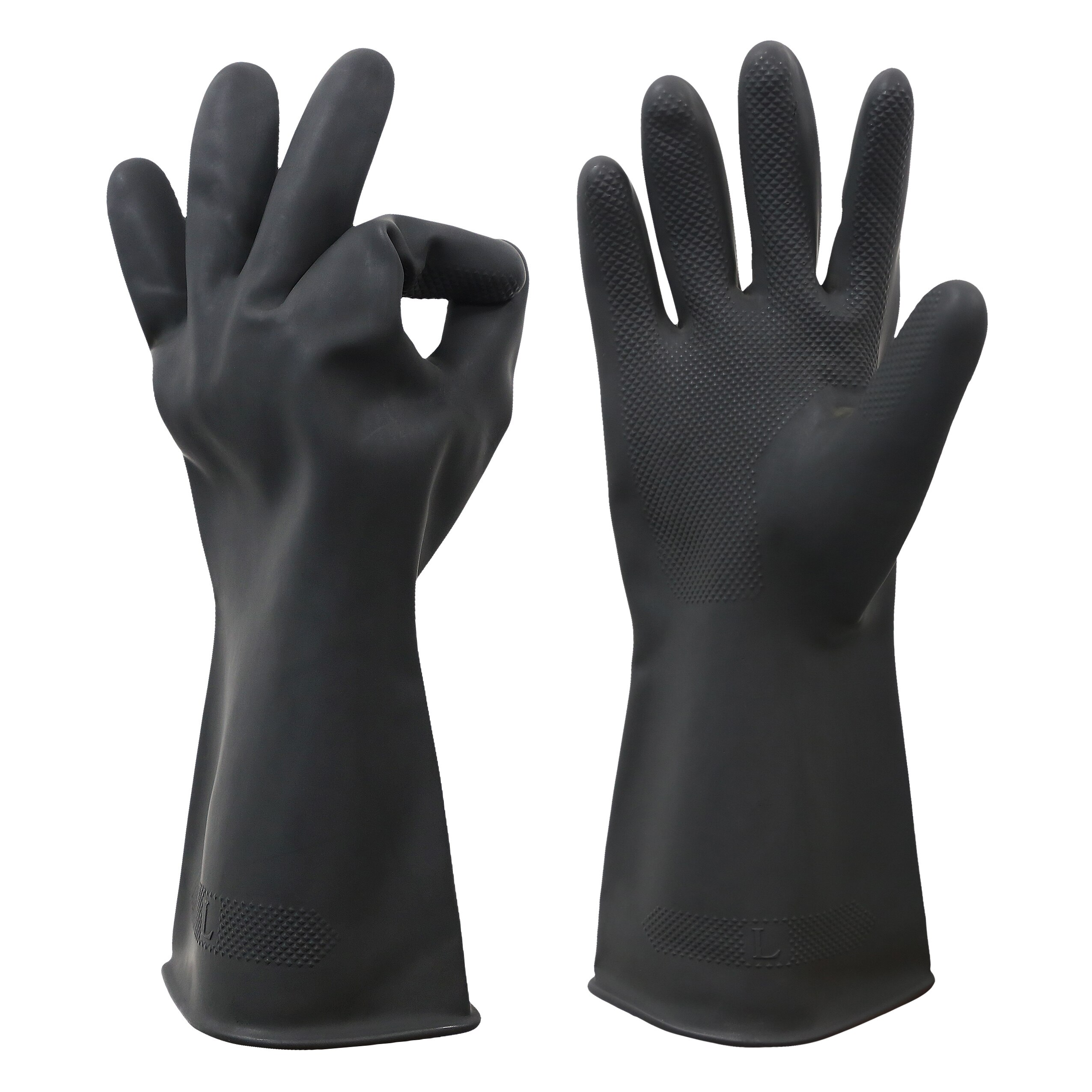Chemical Resistant Gloves,Waterproof Reusable Dishwashing Household Cleaning Protective Safety Work Heavy Duty Industrial Rubber недорого
