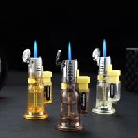 mini gas lighters personalise transparent visible gas cigarette lighter cigar pipe gadgets for men gift turbo lighters