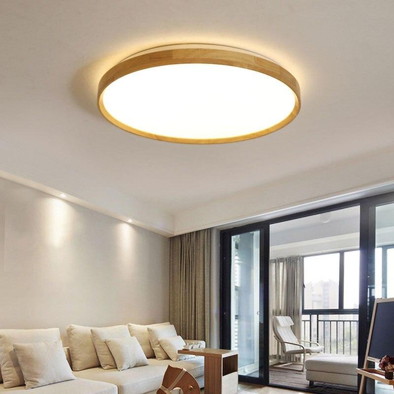 Luces de techo de madera ultradelgadas de 5cm de alto lámparas de techo LED tejidas a mano de estilo nórdico moderno para sala de estar dormitorio comedor vestíbulo