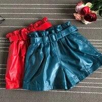 2019 autumn womens sheepskin wide leg shorts chic belt real leather high waist short trousers a711