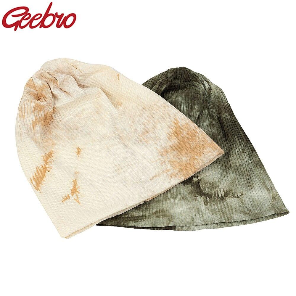 Geebro de algodón las mujeres Tie Dye sombrero Otoño Invierno mujer Slouchy sombrero de punto acanalado tapa del cráneo para damas niñas DQ953A