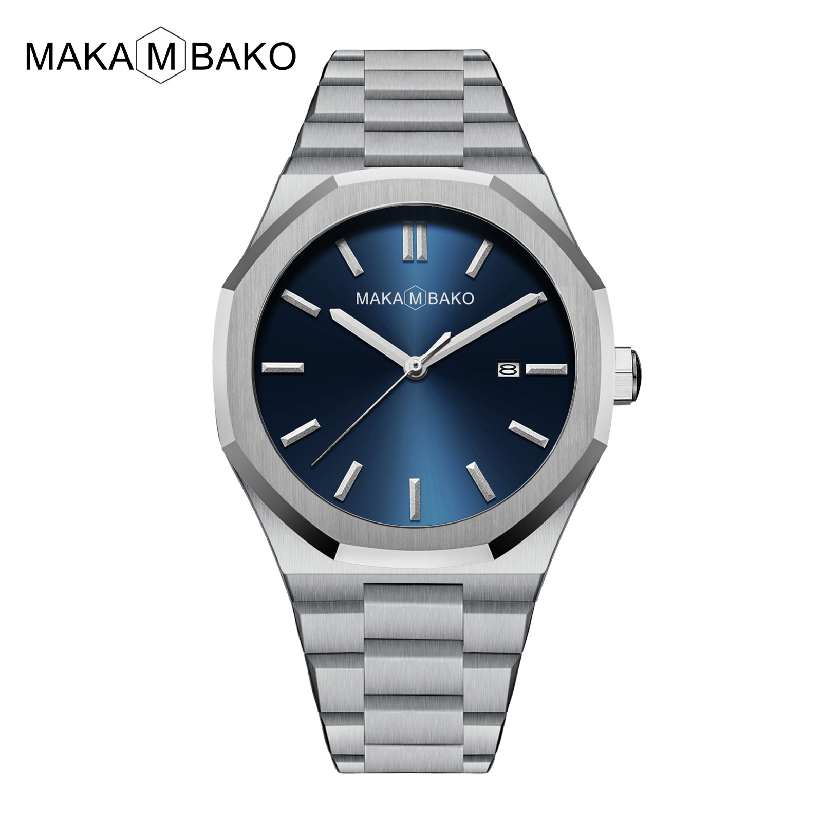 Luxury Stainless Steel Band Men's Watch Fashion Blue Green Dial Japan MIYOTA2115 Mov't Quartz Wrist