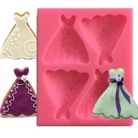 cute skirt silicone fondant resin mold for diy pastry cup cake dessert chocolate lace decoration supplies kitchen tool baking mo