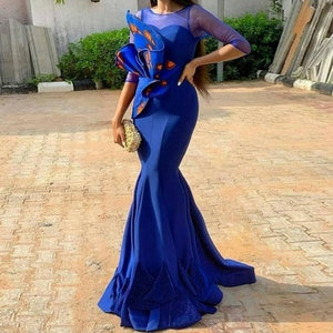 Dark Navy Mermaid / Trumpet Jewel Sweep/Brush Applique middle-lengthsleeves Evening Dresses high qualityFashion